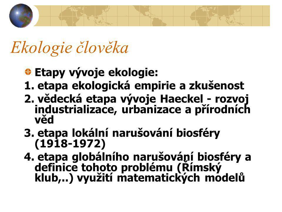 Ekologie člověka Etapy vývoje ekologie: