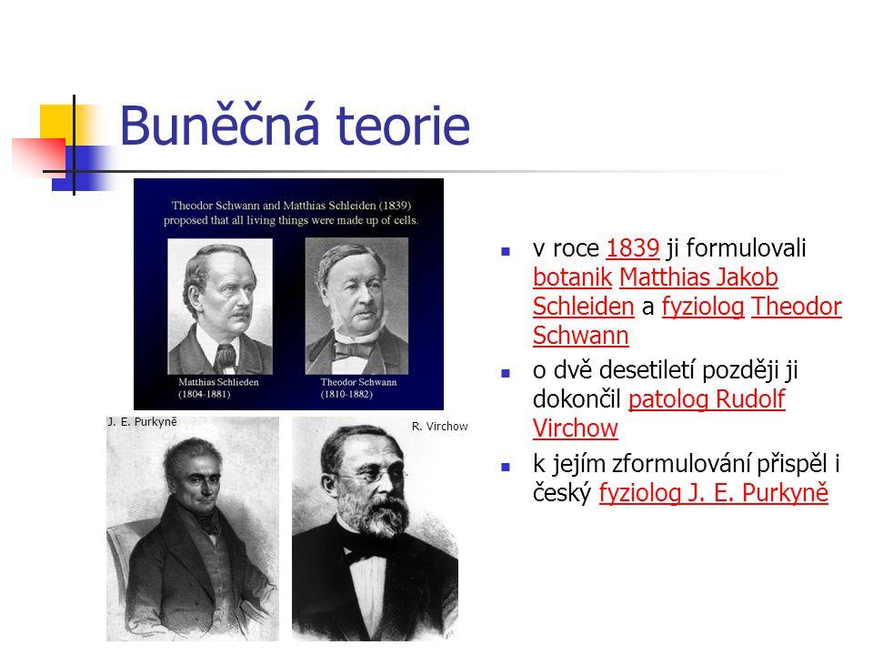 Buněčná teorie v roce 1839 ji formulovali botanik Matthias Jakob Schleiden a fyziolog Theodor Schwann.