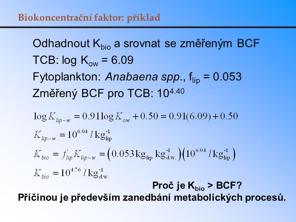 Odhadnout Kbio a srovnat se změřeným BCF TCB: log Kow = 6.09