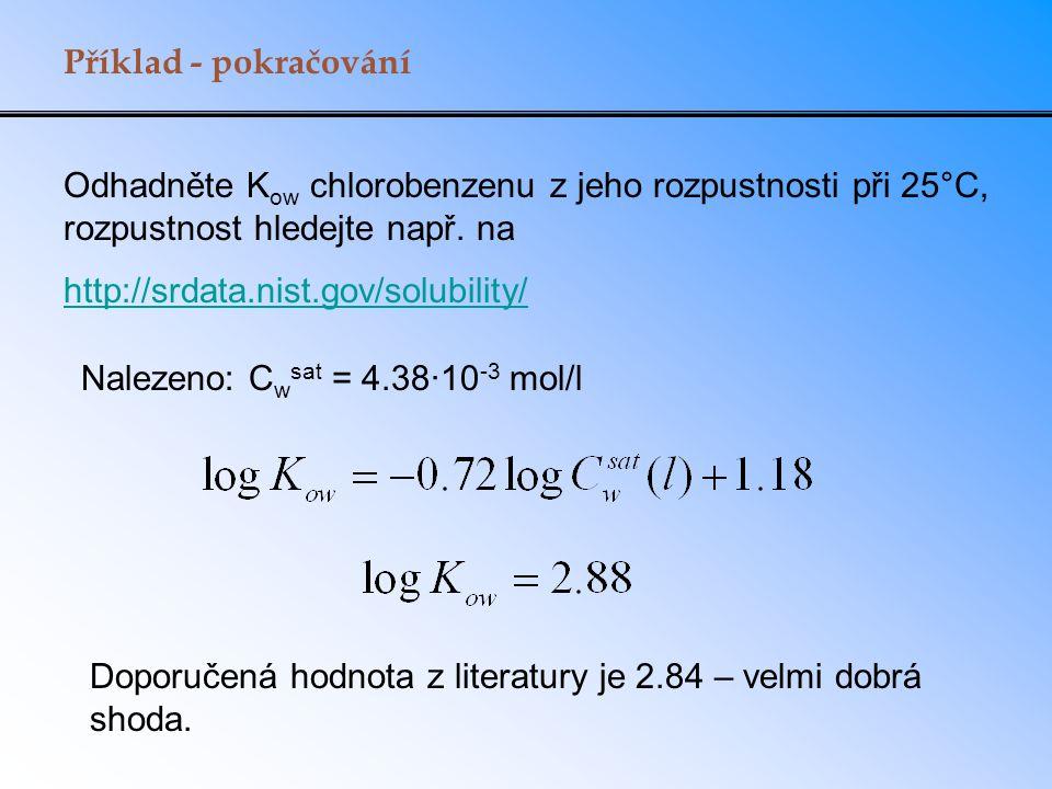 Příklad - pokračování Odhadněte Kow chlorobenzenu z jeho rozpustnosti při 25°C, rozpustnost hledejte např. na.