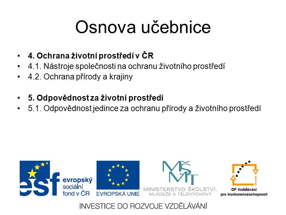 Osnova učebnice 4. Ochrana životní prostředí v ČR