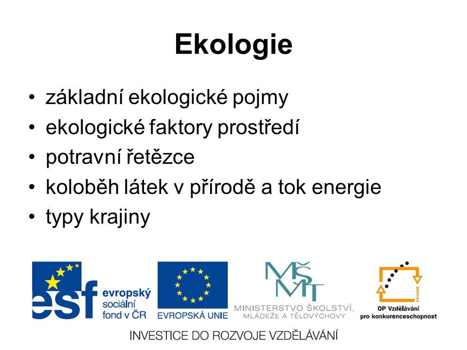 Ekologie základní ekologické pojmy ekologické faktory prostředí