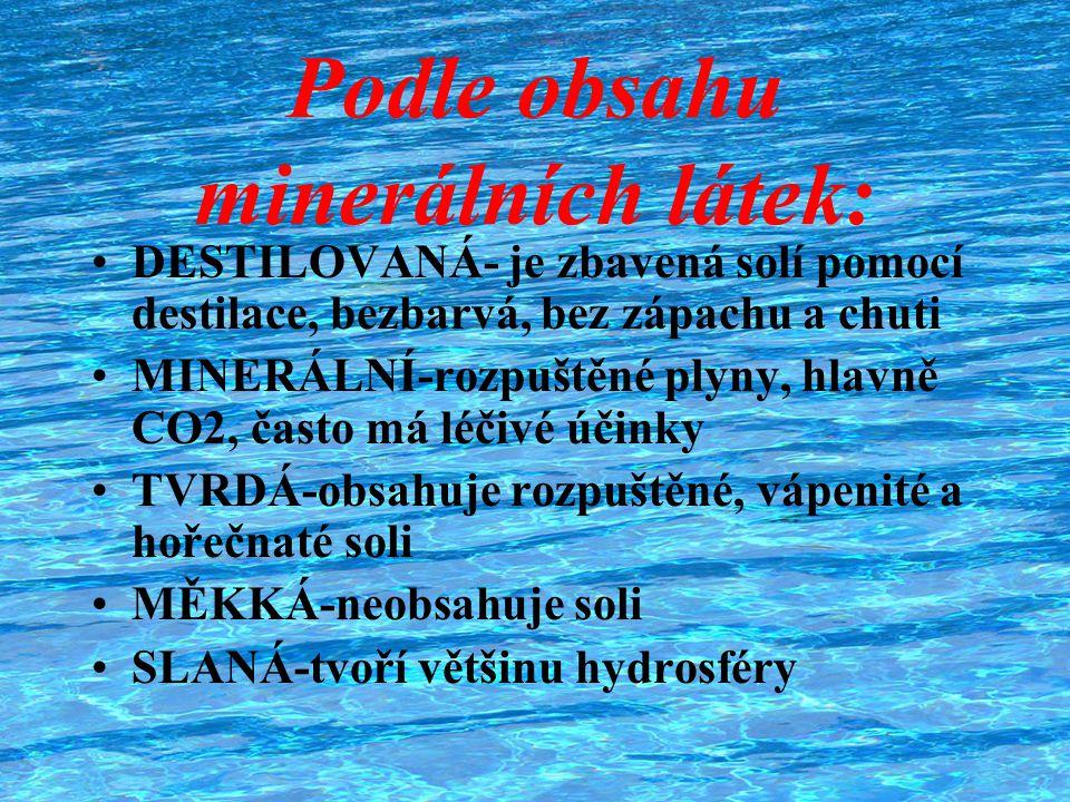 Podle obsahu minerálních látek: