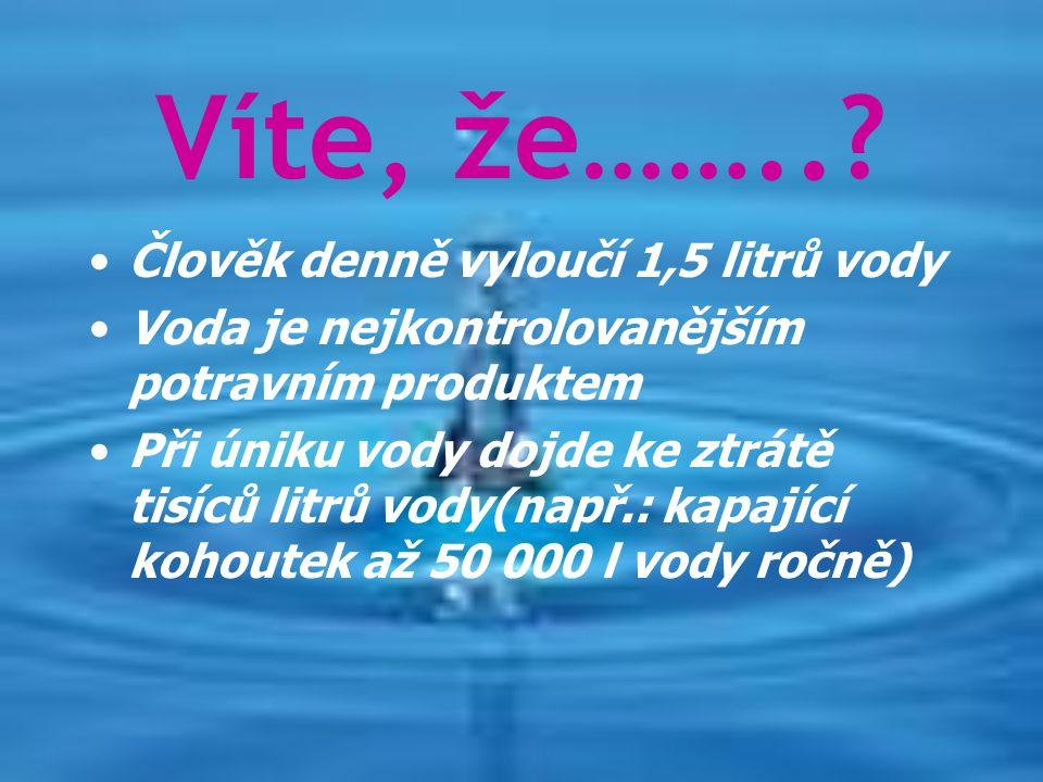Víte, že…….. Člověk denně vyloučí 1,5 litrů vody