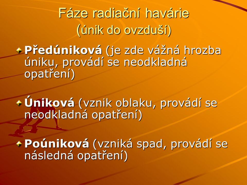 Fáze radiační havárie (únik do ovzduší)