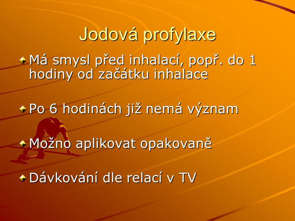 Jodová profylaxe Má smysl před inhalací, popř. do 1 hodiny od začátku inhalace. Po 6 hodinách již nemá význam.