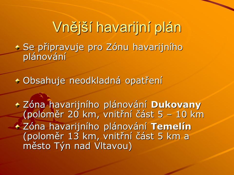 Vnější havarijní plán Se připravuje pro Zónu havarijního plánování