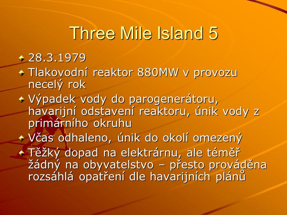 Three Mile Island 5 28.3.1979. Tlakovodní reaktor 880MW v provozu necelý rok.