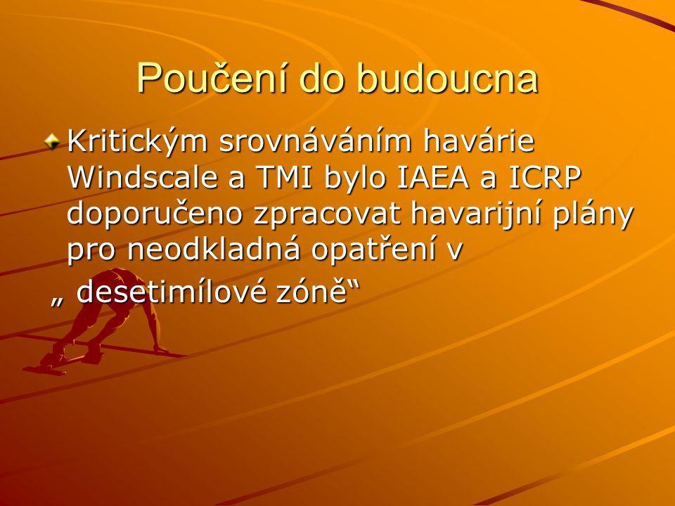 Poučení do budoucna Kritickým srovnáváním havárie Windscale a TMI bylo IAEA a ICRP doporučeno zpracovat havarijní plány pro neodkladná opatření v.