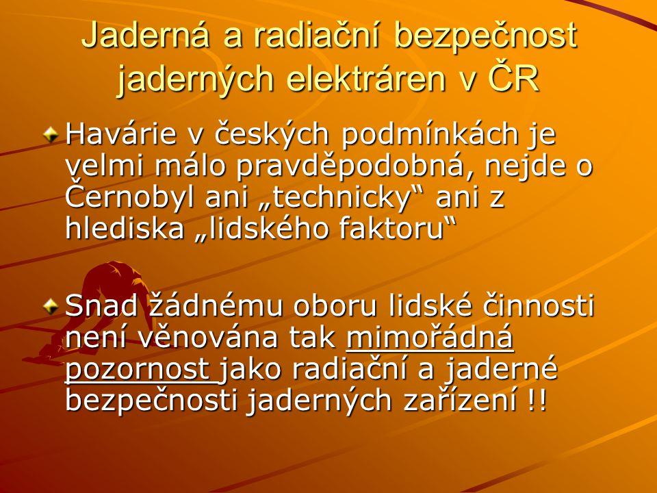 Jaderná a radiační bezpečnost jaderných elektráren v ČR