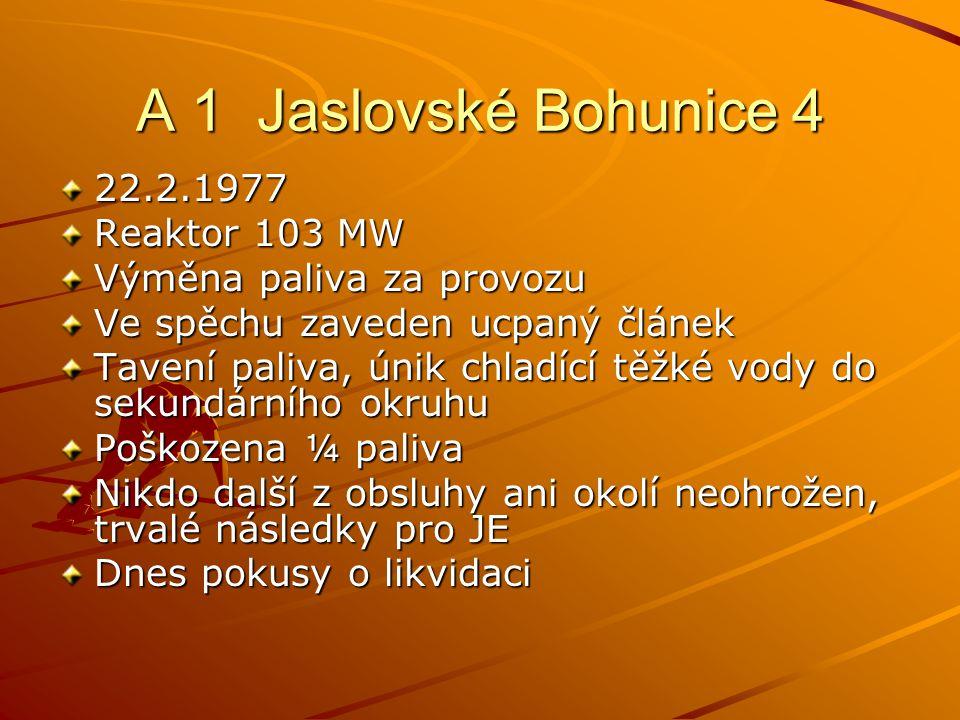A 1 Jaslovské Bohunice 4 22.2.1977 Reaktor 103 MW