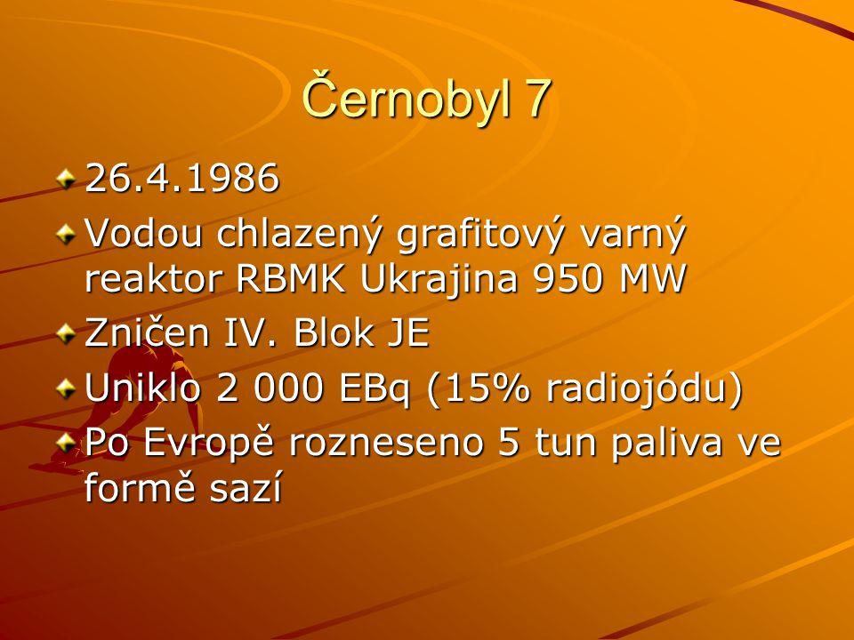 Černobyl 7 26.4.1986. Vodou chlazený grafitový varný reaktor RBMK Ukrajina 950 MW. Zničen IV. Blok JE.