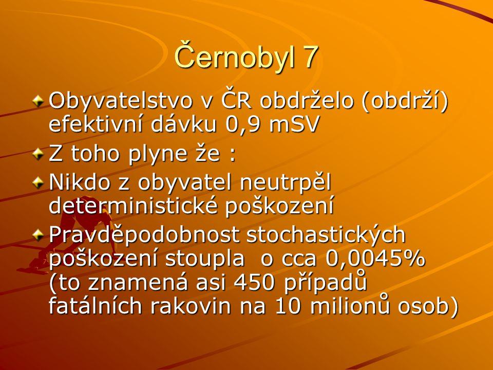 Černobyl 7 Obyvatelstvo v ČR obdrželo (obdrží) efektivní dávku 0,9 mSV