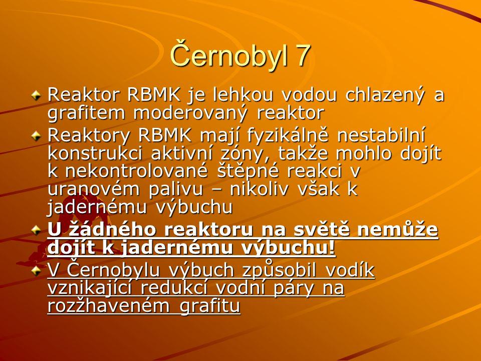 Černobyl 7 Reaktor RBMK je lehkou vodou chlazený a grafitem moderovaný reaktor.