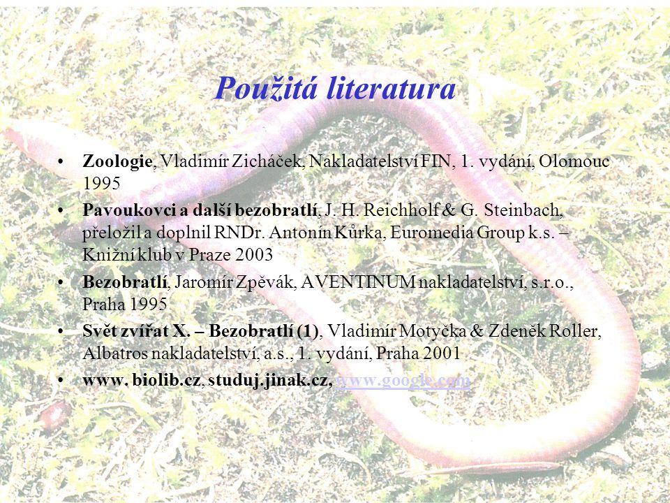 Použitá literatura Zoologie, Vladimír Zicháček, Nakladatelství FIN, 1. vydání, Olomouc 1995.