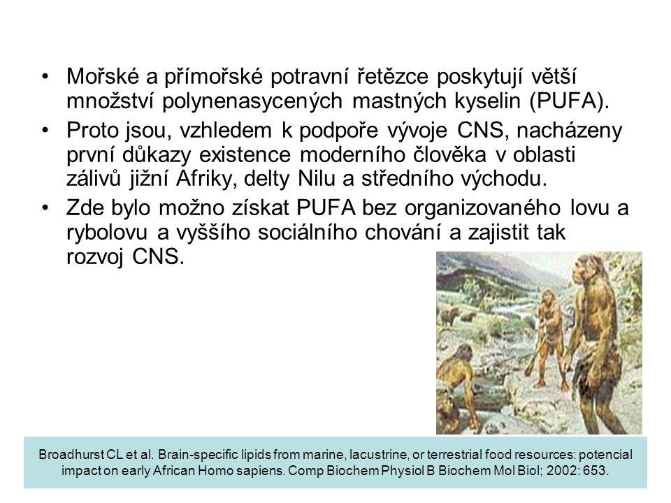 Mořské a přímořské potravní řetězce poskytují větší množství polynenasycených mastných kyselin (PUFA).