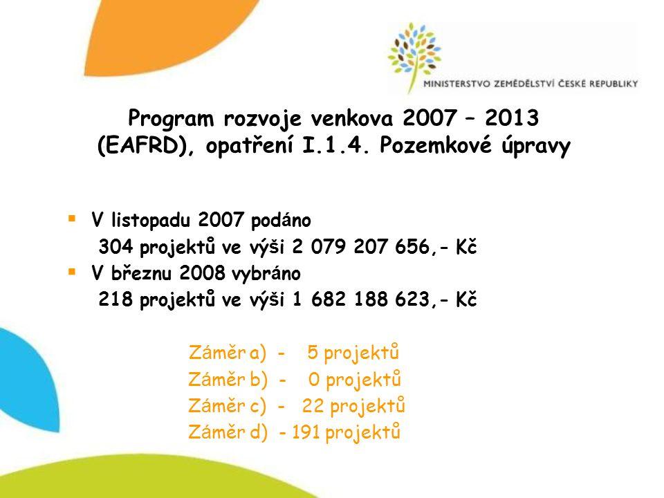 Program rozvoje venkova 2007 – 2013 (EAFRD), opatření I. 1. 4