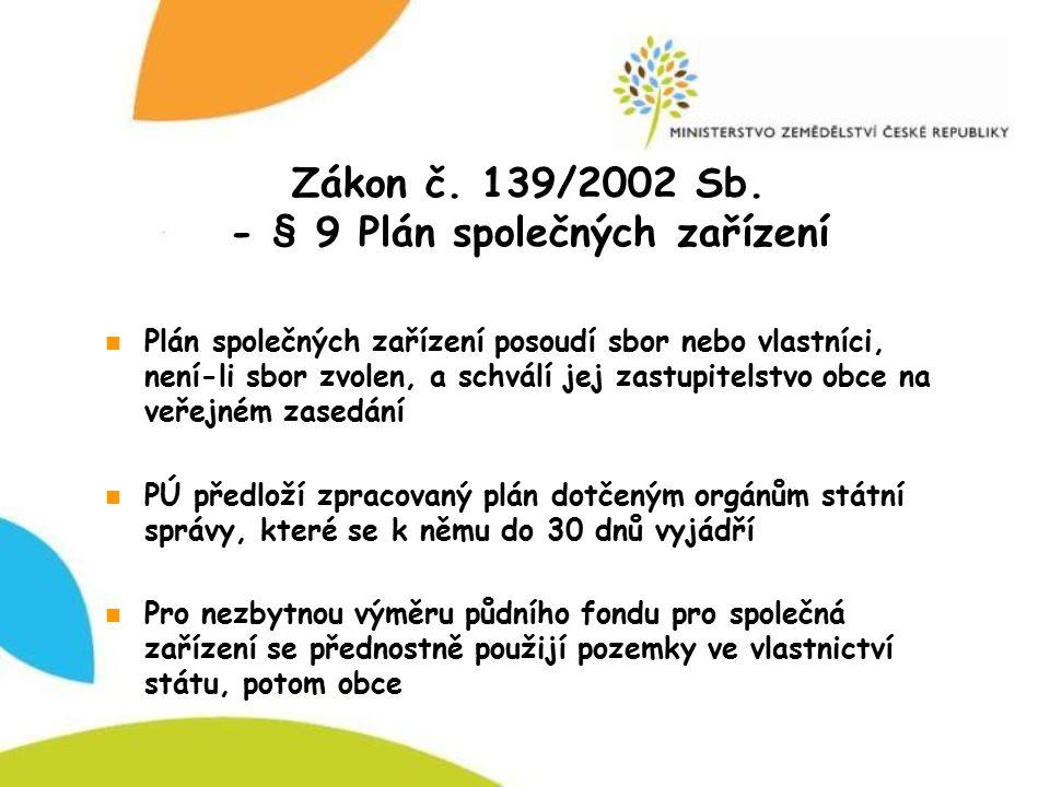 Zákon č. 139/2002 Sb. - § 9 Plán společných zařízení