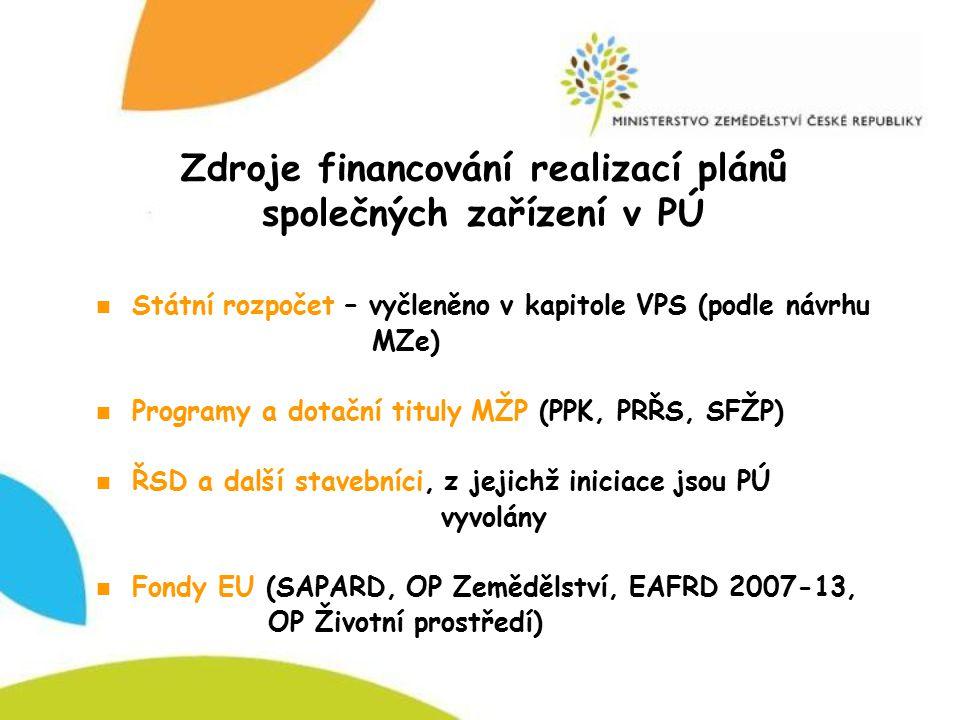 Zdroje financování realizací plánů společných zařízení v PÚ