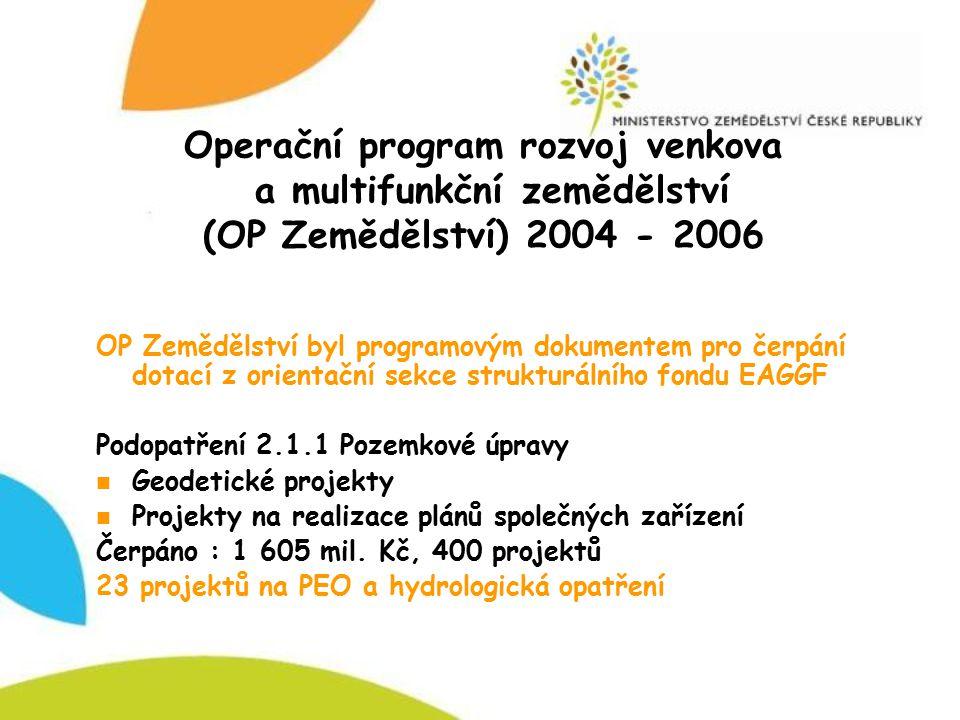 Operační program rozvoj venkova a multifunkční zemědělství (OP Zemědělství) 2004 - 2006