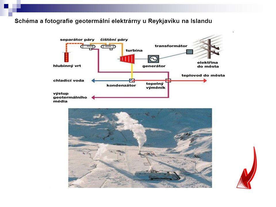 Schéma a fotografie geotermální elektrárny u Reykjavíku na Islandu