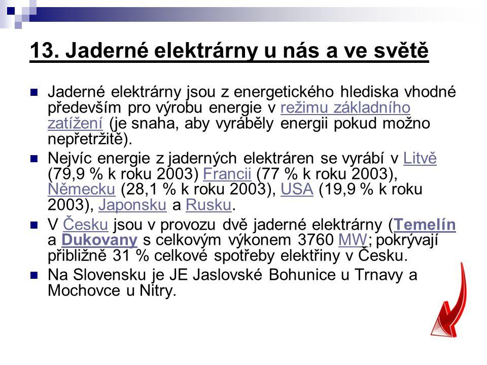 13. Jaderné elektrárny u nás a ve světě
