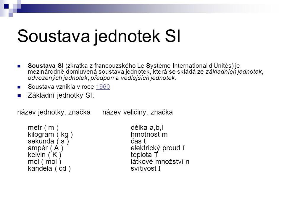 Soustava jednotek SI Základní jednotky SI: