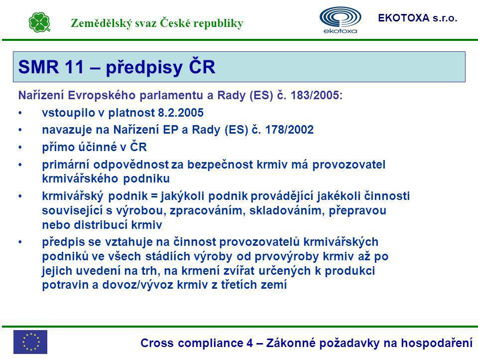 SMR 11 – předpisy ČR Nařízení Evropského parlamentu a Rady (ES) č. 183/2005: vstoupilo v platnost 8.2.2005.