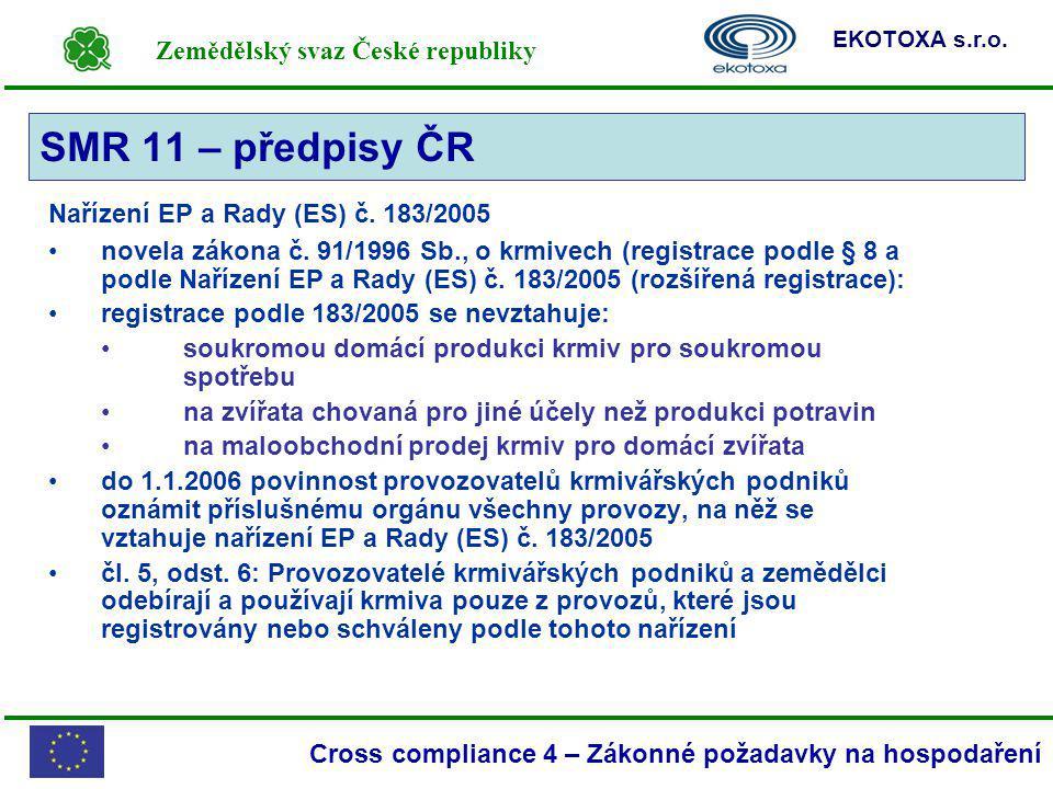 SMR 11 – předpisy ČR Nařízení EP a Rady (ES) č. 183/2005