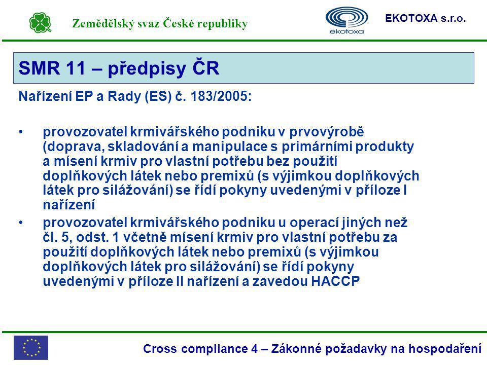 SMR 11 – předpisy ČR Nařízení EP a Rady (ES) č. 183/2005:
