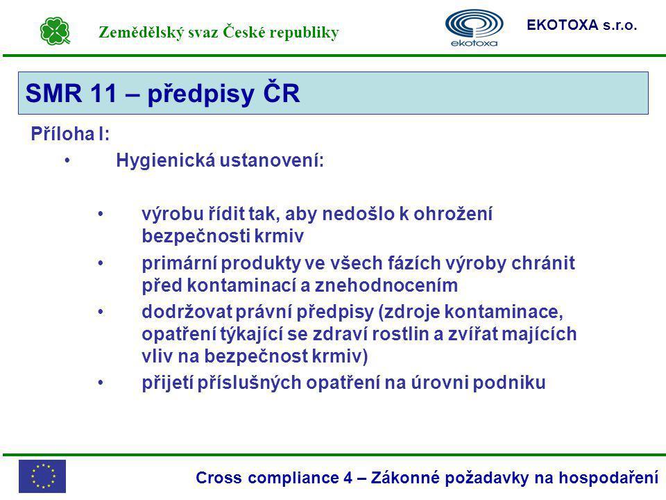 SMR 11 – předpisy ČR Příloha I: Hygienická ustanovení: