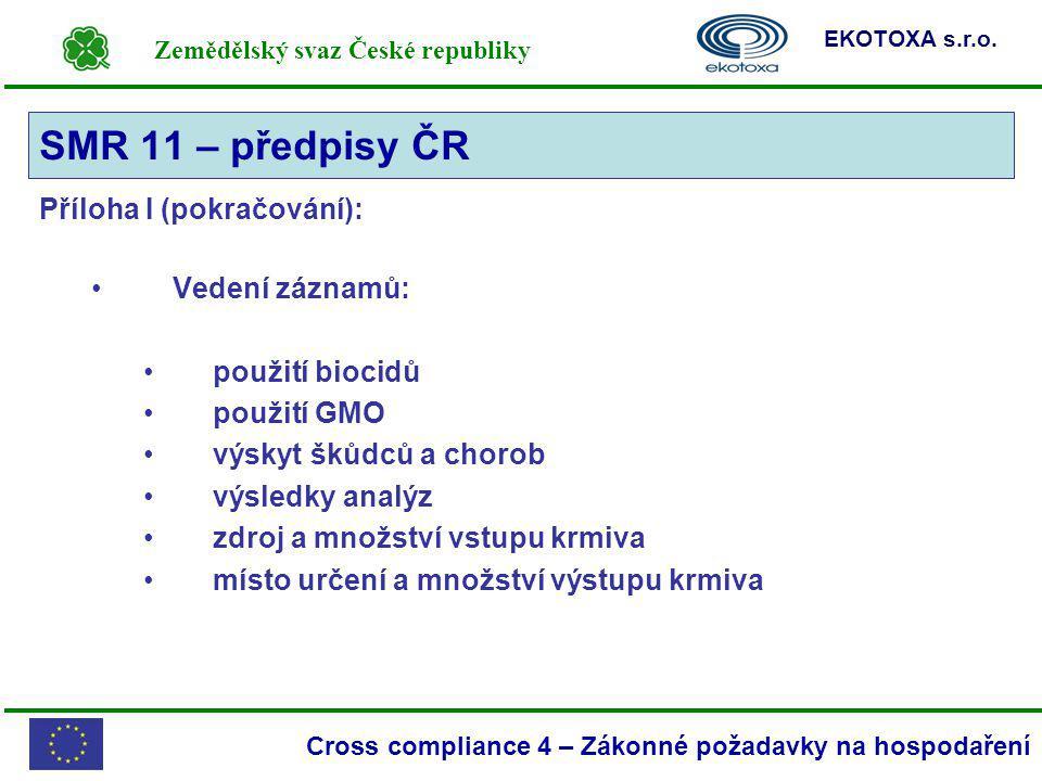 SMR 11 – předpisy ČR Příloha I (pokračování): Vedení záznamů: