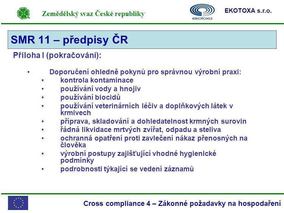 SMR 11 – předpisy ČR Příloha I (pokračování):