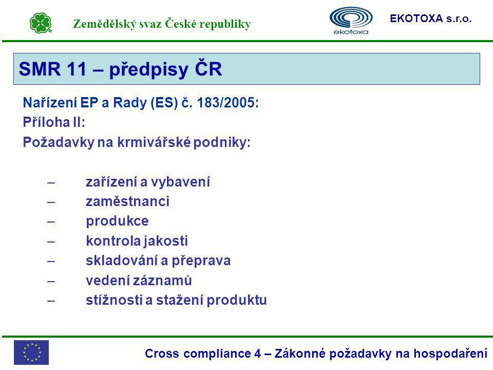 SMR 11 – předpisy ČR Nařízení EP a Rady (ES) č. 183/2005: Příloha II: