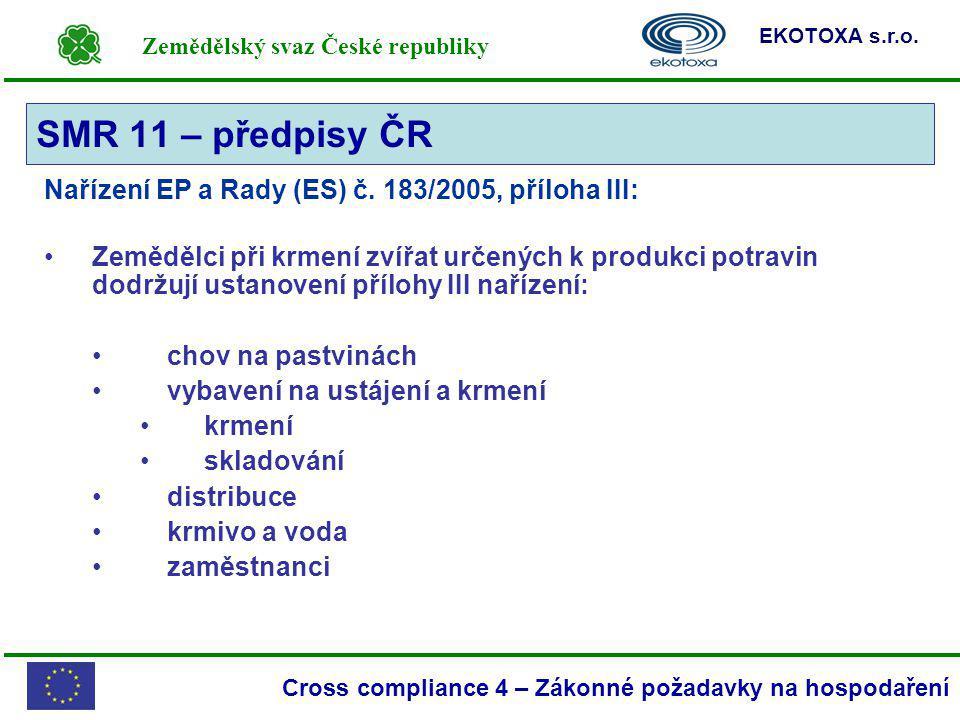 SMR 11 – předpisy ČR Nařízení EP a Rady (ES) č. 183/2005, příloha III: