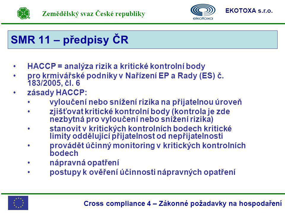 SMR 11 – předpisy ČR HACCP = analýza rizik a kritické kontrolní body