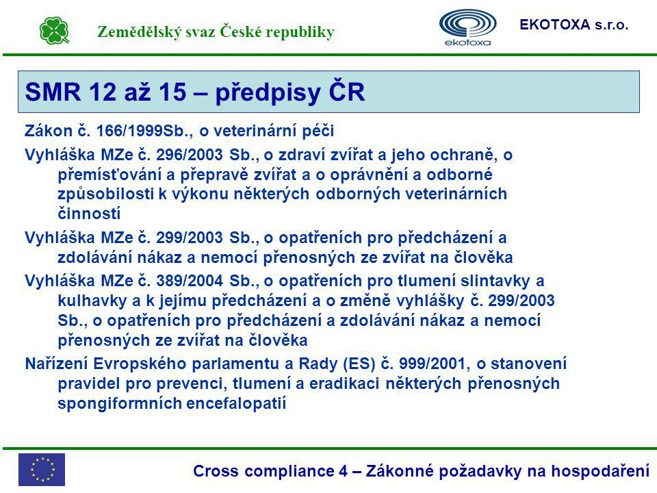 SMR 12 až 15 – předpisy ČR Zákon č. 166/1999Sb., o veterinární péči