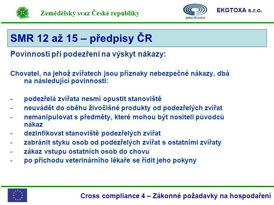 SMR 12 až 15 – předpisy ČR Povinnosti při podezření na výskyt nákazy: