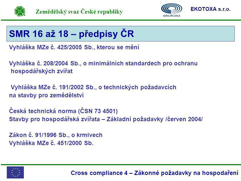 SMR 16 až 18 – předpisy ČR Vyhláška MZe č. 425/2005 Sb., kterou se mění. Vyhláška č. 208/2004 Sb., o minimálních standardech pro ochranu.
