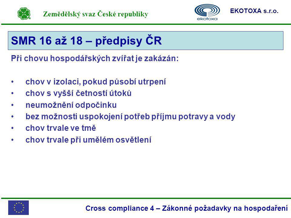 SMR 16 až 18 – předpisy ČR Při chovu hospodářských zvířat je zakázán: