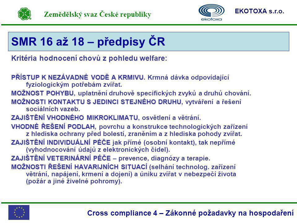 SMR 16 až 18 – předpisy ČR Kritéria hodnocení chovů z pohledu welfare: