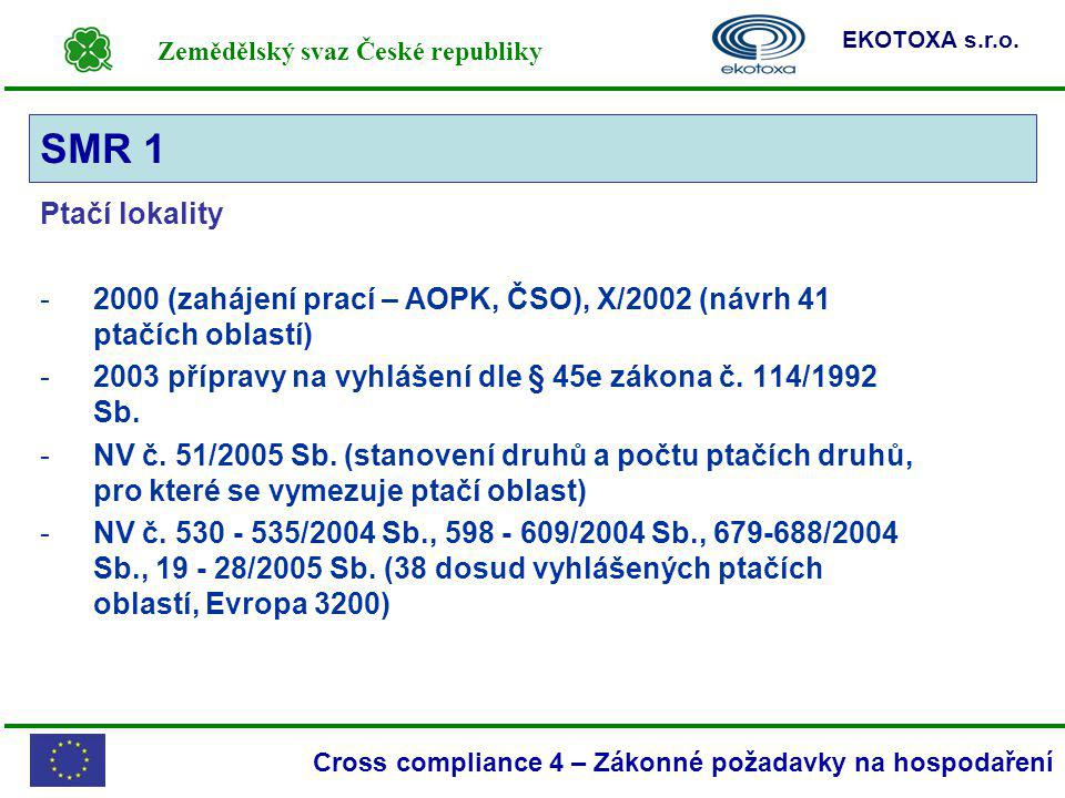 SMR 1 Ptačí lokality. 2000 (zahájení prací – AOPK, ČSO), X/2002 (návrh 41 ptačích oblastí)