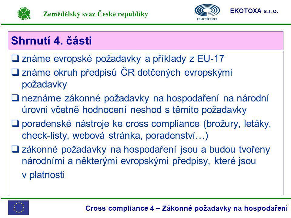 Shrnutí 4. části známe evropské požadavky a příklady z EU-17