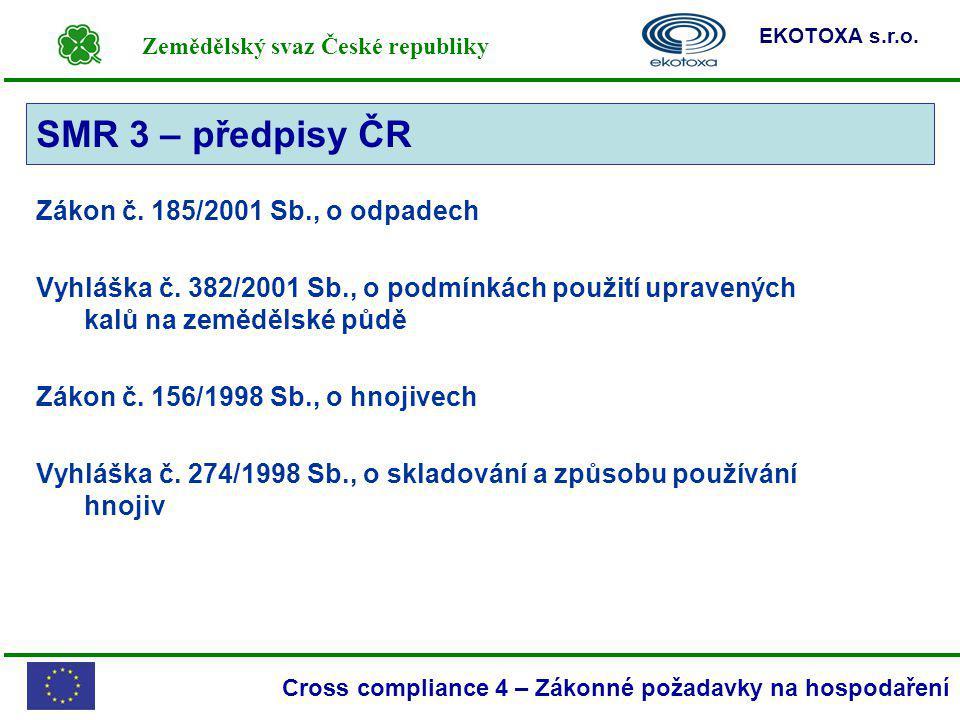 SMR 3 – předpisy ČR SMR 3 Zákon č. 185/2001 Sb., o odpadech