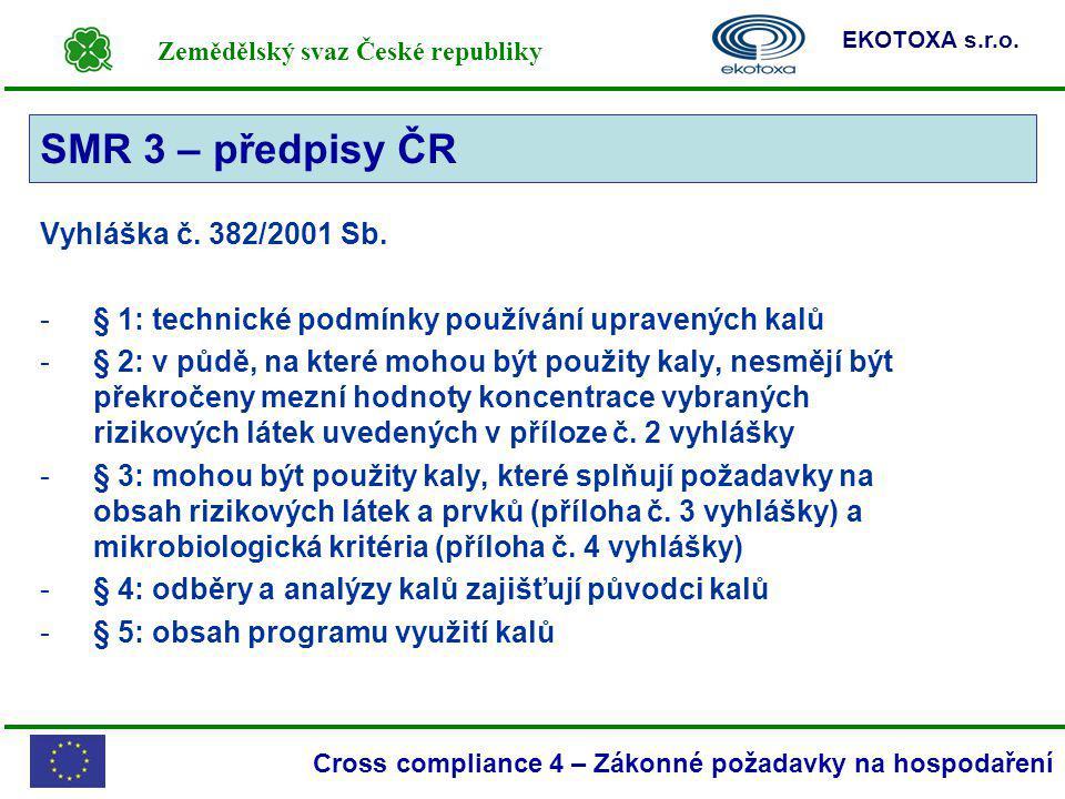 SMR 3 – předpisy ČR SMR 3 Vyhláška č. 382/2001 Sb.