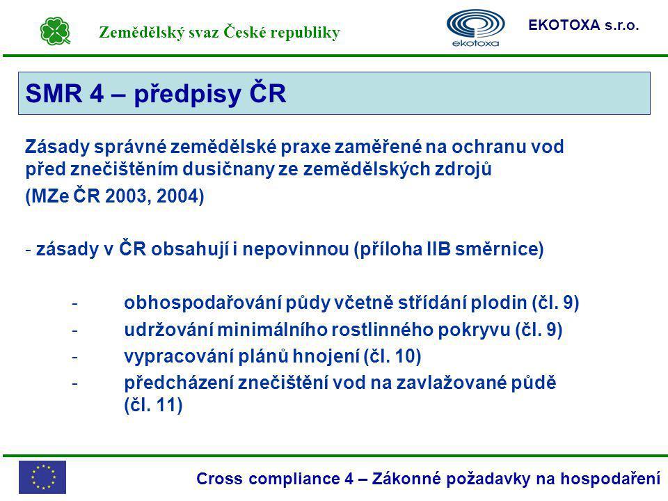 SMR 4 – předpisy ČR SMR 4. Zásady správné zemědělské praxe zaměřené na ochranu vod před znečištěním dusičnany ze zemědělských zdrojů.
