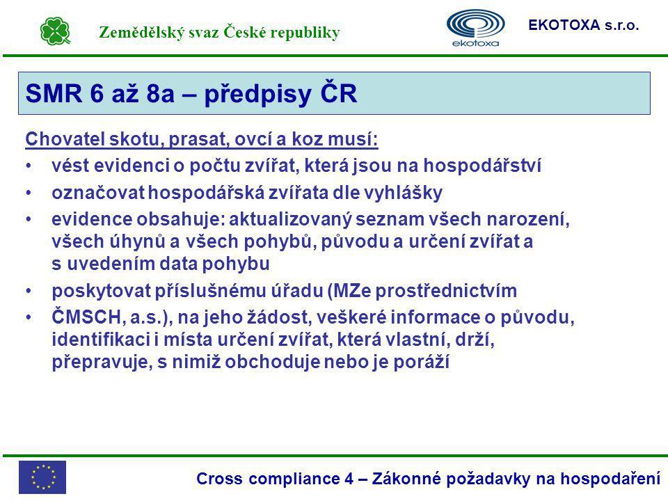 SMR 6 až 8a – předpisy ČR Chovatel skotu, prasat, ovcí a koz musí: