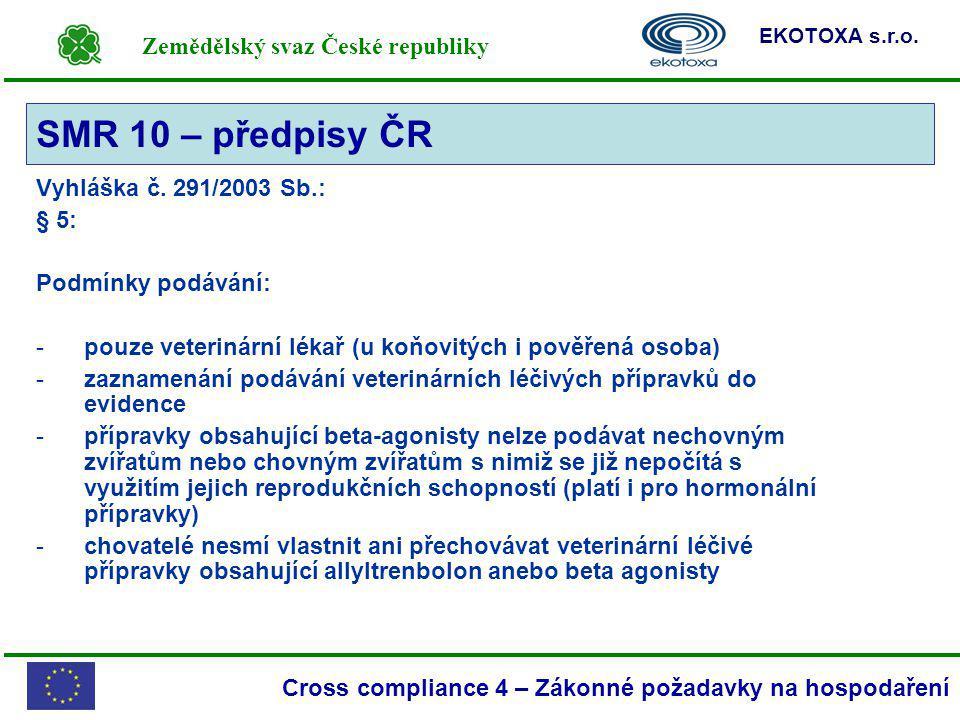 SMR 10 – předpisy ČR Vyhláška č. 291/2003 Sb.: § 5: Podmínky podávání: