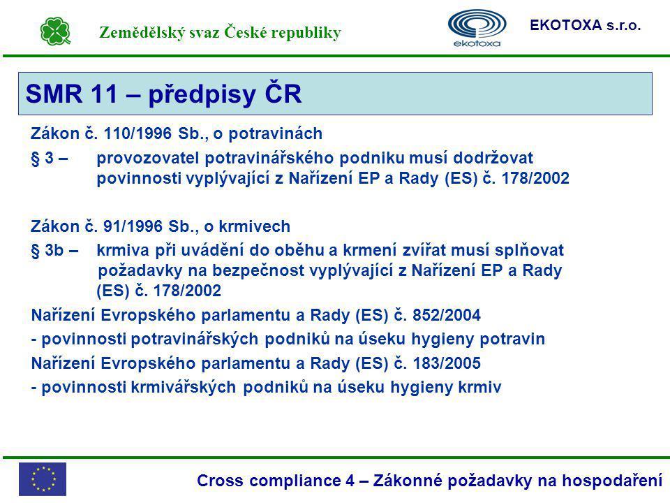 SMR 11 – předpisy ČR Zákon č. 110/1996 Sb., o potravinách