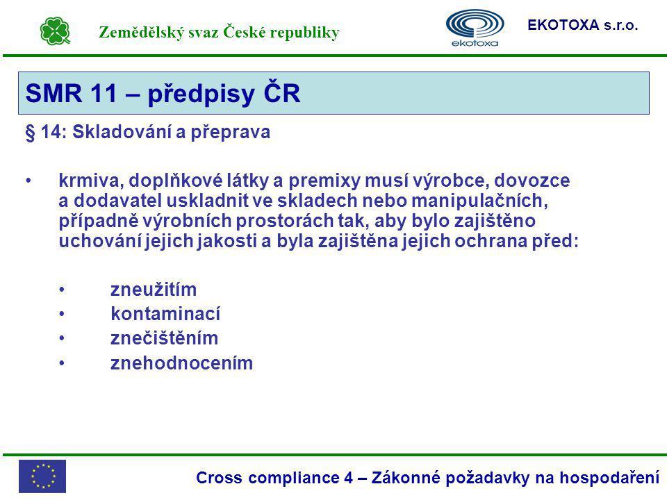 SMR 11 – předpisy ČR § 14: Skladování a přeprava